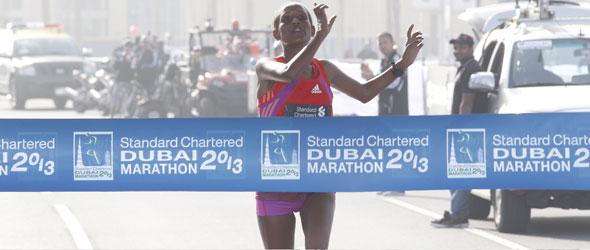 Tirfi Tsegaye wins Dubai Marathon 2013