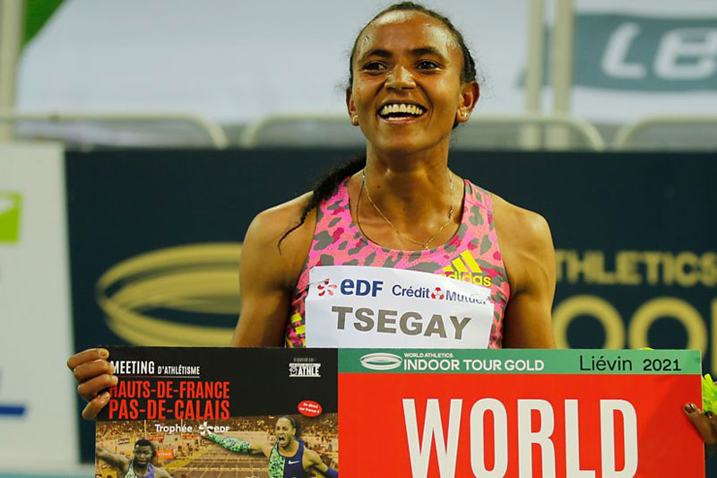 Gudaf Tsegay sets indoor 1500m record